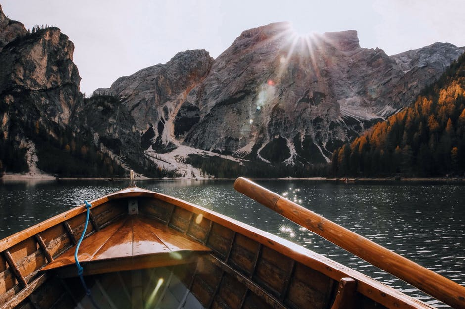 A boat sitting on top of a mountain